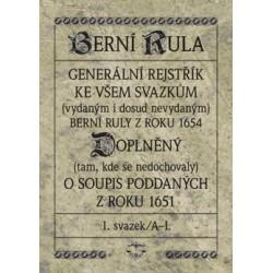Berní rula. Generální rejstřík ke všem svazkům berní ruly 1654 doplněný o soupis poddaných 1651